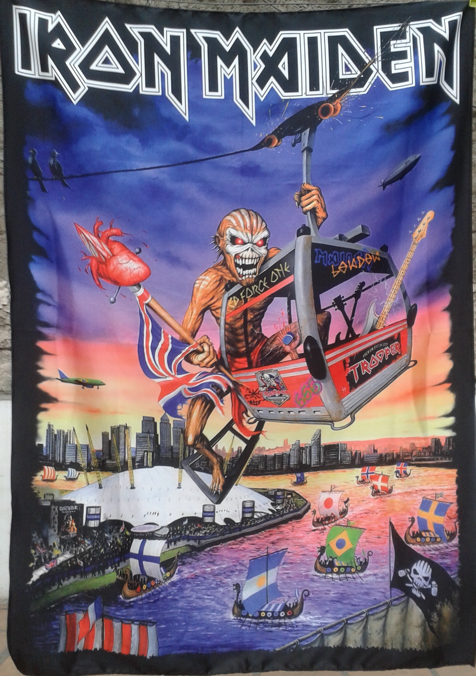 Iron Maiden The Book Of Souls London Flag Cloth Poster Wall Tapestry Heavy Metal