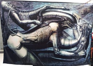 H.R. GIGER Erotomechanics FLAG CLOTH POSTER WALL TAPESTRY Alien Prometheus