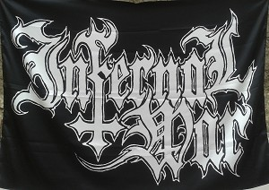 INFERNAL WAR Band Logo FLAG CLOTH POSTER WALL TAPESTRY BANNER Black Death