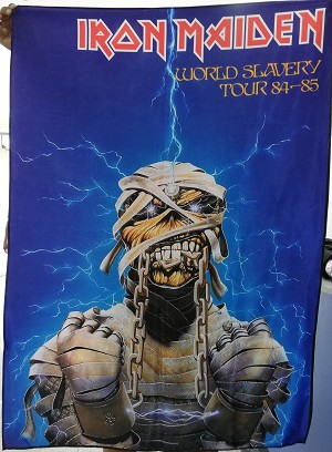 IRON MAIDEN World Slavery Tour 84-85 FLAG CLOTH POSTER BANNER Heavy Metal